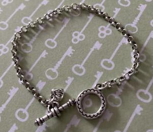 "Brighton Add Clip On Charms Starter Rolo Chain Silver Bracelet 7.5"""