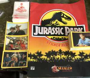 Jurassic Park 1992 Merlin Complete Loose Sticker Set & Empty Sticker Album Rare