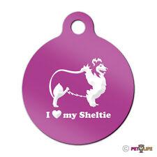 I Love My Sheltie Engraved Keychain Round Tag w/tab profile v2 shetland sheepdog