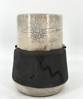 Vtg 1960 Signed Krause Crackle Matte Black Raku Etched Studio Art Pottery Vase