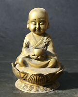 5.3''Collect China Bronze Little Monk Sit Lotus Flower Zen Incense Burner Censer