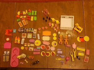 100+ Pieces! Vintage 1980's Miniature Barbie Toy Kitchen RARE corn on cob food