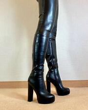 High Heels Plateau Knie Stiefel Damen Männer Boots EU42 UK8 US11 15cm Absatz