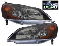 2001-2003 Honda Civic 4D Sedan OE Style Black Head Light DEPO PAIR