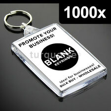 1000x Premium Quality Clear Acrylic Blank Keyrings Key Fobs 70 x 45 mm | Large
