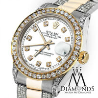 Women's 31mm Rolex Oyster Perpetual Datejust Custom White Color Diamond Dial