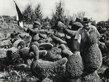 1955 ROBERT DOISNEAU Garden Animal Sculpture France Vintage Photo Art 11x14