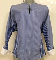 SANDRO PARIS Damen BLUSE NEU mit Etikett  Gr. 38 M 100% Cotton weiblich hellblau