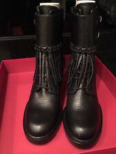 Valentino Fringe Black Leather Ankle Biker Boot Shoes 39.5  New