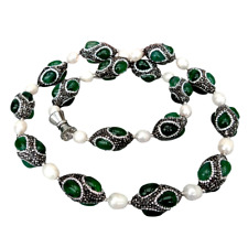 """Cultured White Rice Pearl Green Agate Black Rhinestone Pave Necklace 32"""""""