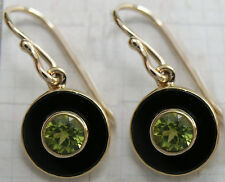 CE981- Genuine 9ct Yellow Gold Natural Peridot & Onyx Round Drop Dangle Earrings