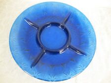 AVON COBALT BLUE GLASS  ROYAL SAPPHIRE DIVIDED PLATE RELISH  TRAY FRANCE