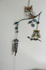 """New listing Two Owls Wind Chimes Glass/Brass 29"""" Garden Decor Chime Yard Art Owl On Branches"""