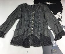 NEW Mlle Gabrielle Gray BOHO PRAIRE STYLE VINTAGE TOP Size Small