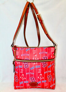 DOONEY & BOURKE Boston Red Sox Nylon Crossbody Front Zip Pkt Leather Logo Patch