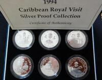 1994 SILVER PROOF 6 X CROWN COINS BOX SET + COA QUEEN'S ROYAL CARIBBEAN VISIT