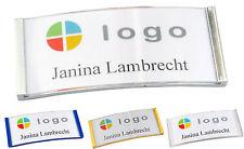 1 x Gewölbtes Kunststoff Namensschild, versch. Farben  Nadel Magnet Kombiclip