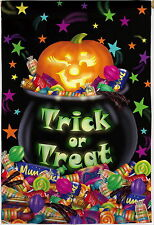 NEW LARGE EVERGREEN TWO SIDED FLAG HALLOWEEN TRICK OR TREAT CAULDRON 29 X 43