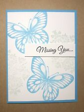 """Card Kit Set Of 4 Stampin Up Butterflies """"Missing You"""" Temping Turquoise"""