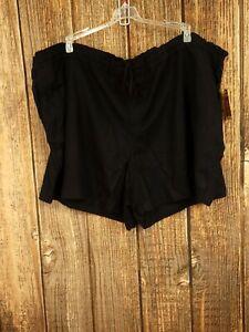 Faded Glory 4X Women's Black Linen Blend Shorts Drawstring Fits 26W-28W NWT