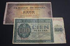 SPAIN 1936-1938 100 PESETAS BURGOS LOTE 2 BANKNOTES BILLETES ESPAÑA .