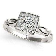 0.50ct Round Diamond Square Halo Engagement Ring