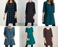 Seasalt Scoop Neck 3/4 Sleeves Corduroy Cord Tunic shift dress 10 12 14 16 18