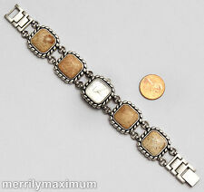 Chico's NEW Signed Watch Bracelet Agate Stone Silver Tone Battery Works NWOT
