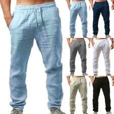 Masculino Calças Harém de verão casual de algodão e linho Baggy Solto Yoga Hippy Calças
