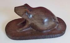 Vintage Carved Hardwood Frog Paperweight