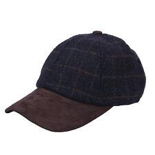 Heritage Traditions Womens Mens Blue Tweed Suede Baseball Casual Skip Cap Hat