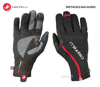 """NEW Castelli SPETTACOLO RoS """"Rain or Shine"""" Long Finger Cycling Gloves BLACK/RED"""