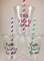 Talk Thirty To Me PARTY CUPS 30th Birthday Set/12 With Lids Straws 30
