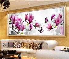 AU 5D Diamond Magnolia Flower DIY Rhinestone Painting Cross Stitch Kit Home Deco