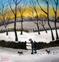 """Two Dogs Walking   Original 14"""" X 14""""  Northern Art Oil Painting by COSA"""