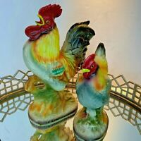Original Arnart Creation Rooster Hen Figurine Japan Vintage Set of 2 #D1