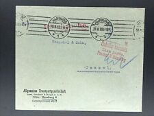 Dt. Reich - Allg. Transportgesellschaft Hamburg n. Cassel - Gebühr Bezahlt 1923