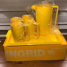 Vintage Ingrid NIB Yellow Beverage Set Pitcher Tray 4 Cups New Old Stock