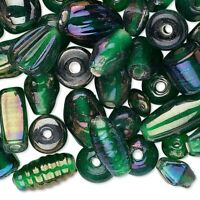 50 Grams Luster Dark Green Mixed Shapes Glass Beads with 60 to 100 Beads *