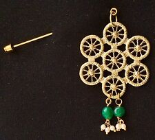 Golden Filigree Design With Green Drops On Stick Pin Brooch Fashion Pin Scarf