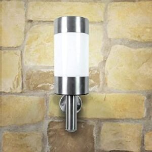 2 PAck Stainless Steel Bright White LED Solar Powered Wall Lights Porch Patio