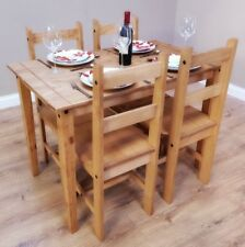 Rustic Farmhouse Table and Chairs Set Solid Pine Wood Dining Kitchen Furniture