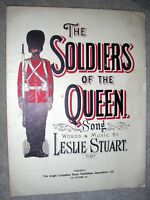 1898 THE SOLDIERS OF THE QUEEN Antique Sheet Music by Leslie Stuart CANADA