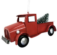 Red Country Pickup Truck Christmas Tree Ornament Decor Retro Tree Farm R
