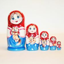 Nesting dolls Little Girl with cat Signed handmade Russian matryoshka modern
