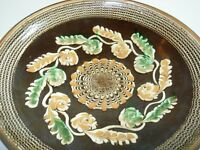 ANTIQUE HOREZU ROMANIA Clay ART Pottery HANGING Plate BOWL Psychedelic Glaze 7""