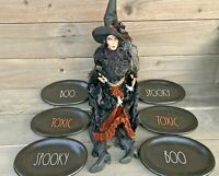 NEW! Rae Dunn Halloween LOT 6 pc SET TOXIC BOO SPOOKY Black Orange White Plates