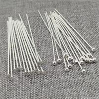 50pcs of 925 Sterling Silver Ball Head Pins Flat Head Pins Needles