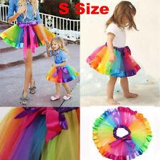 Cute Kids Girl Tutu Skirts Rainbow Bow Tulle Ballet Dance Party Costume Dress US