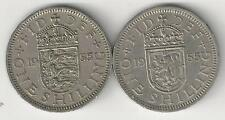 2 OLDER 1 SHILLING COINS from GREAT BRITAIN - 2 TYPES (BOTH DATING 1955)